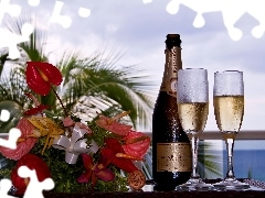 composition, Bouquet of Flowers, Champagne, glasses