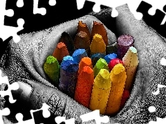 crayons, color, Men, hand
