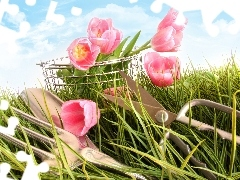 cutlery, basket, grass, Tulips