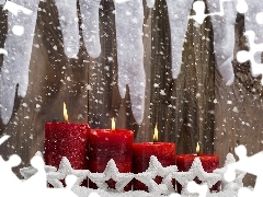 decoration, Stars, snow, Red, Christmas, Candles