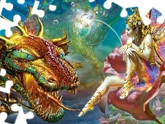 Dragon, butterfly, Women, Rainbow