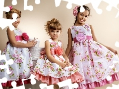 dresses, Three, girls