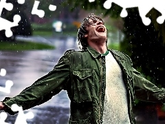 Rain, a man, Emotions