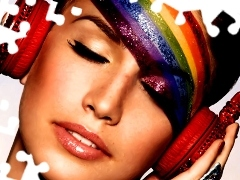 Women, rainbow, face, HEADPHONES