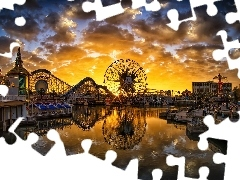 Great Sunsets, Ferris Wheel, Disneyland, The United States, River, California, Anaheim