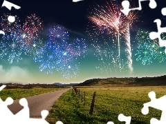 Way, pasture, fireworks, fence