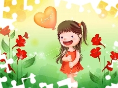 Flowers, girl, Baloon