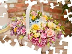basket, Colorful, flowers, full