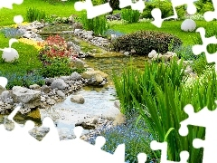 Flowers, Flower-beds, brook, Stones, Garden