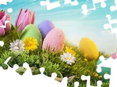 Flowers, eggs, Easter, eggs