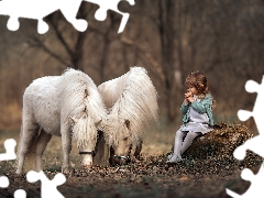 trunk, forest, girl, ponies, Kid