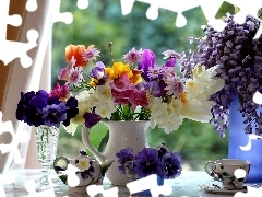 freesia, wistaria, flowers, pansy, Bouquets