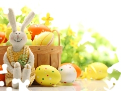 fuzzy, eggs, basket, Rabbit, background, toy