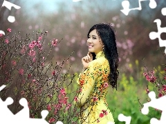 Bush, Garden, flourishing, happy, Spring, Japanese girl