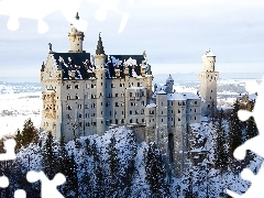 Castle, winter, Germany, Neuschwanstein