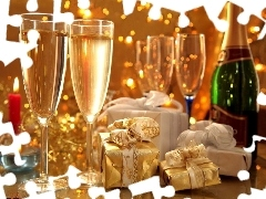 gifts, Champagne, glasses