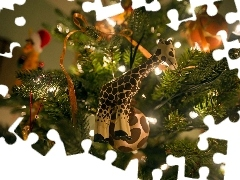 christmas tree, lights, giraffe, ornamentation