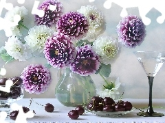 beatyfull, cherries, glass, dahlias