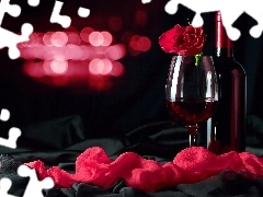 glass, rose, Wine, red hot