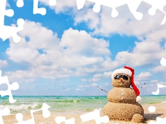 Snowman, Beaches, Glasses, sea, Hat, Sand