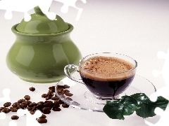 Green, sugar bowl, coffee, grains, cup
