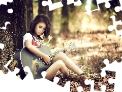 forest, Guitar, girl