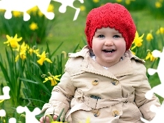Hat, red hot, Kid, Daffodils, girl
