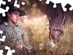 Horse, Meadow, boy, Hat, a man