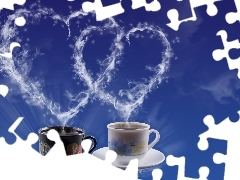 heart, coffee, Two, cups