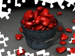 red, hearts, Bucket