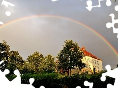 Great Rainbows, viewes, house, trees