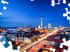 Churches, Bridges, Berlin, tower, River, Houses, Germany