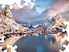 clouds, Lofoten, Mountains, Reine Village, Norway, Houses, winter