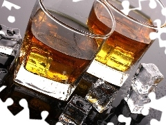 glasses, knuckle, ice, Whisky
