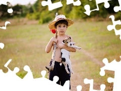 car in the meadow, forest, boy, puppie, small