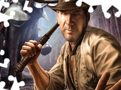a man, Elephant, Indiana Jones, Hat