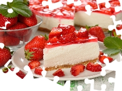 jelly, cheesecake, strawberries