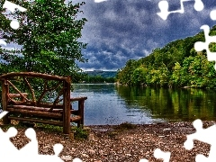 lake, Bench, Mountains, woods, clouds