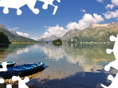 Mountains, lake, reflection, Islet, clouds, maria, Segl, boats