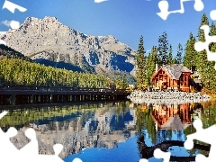 lake, Restaurant, Mountains, woods