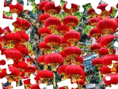 chinese, Lanterns, decoration, Red