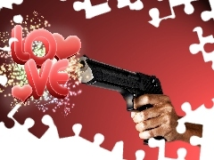 hand, Gun, LOVE, Weapons