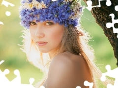 Blonde, floral, Meadow, wreath