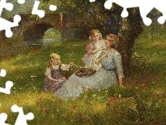 Meadow, Flowers, Two, girls, Women
