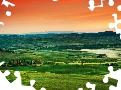 field, Farms, medows, Mountains, Tuscany, Italy, sun, panorama, west