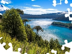 Mountains, viewes, lake, Chile, trees