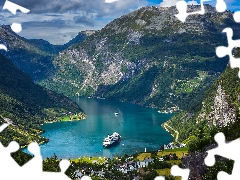 Mountains, Norway, Houses, Ship, Gulf, Fiord Geirangerfjorden