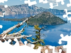 trees, Island, broken, Mountains, lake, viewes, Lod on the beach