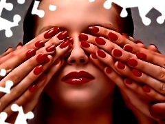 Women, Red, Nails, hands