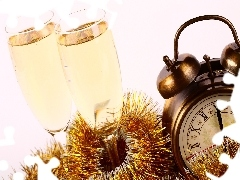 New, year, glasses, Champagne, Clock